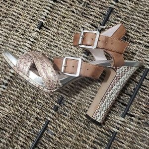 Open Toe Metallic Shoes Vince Camuto